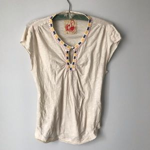 Free people short sleeve top M/L embroidered